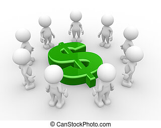 Dollar sign - 3d people - men, person in circle with dollar...