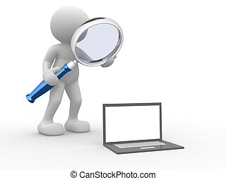 Laptop - 3d people - man, person with a magnifying glass and...