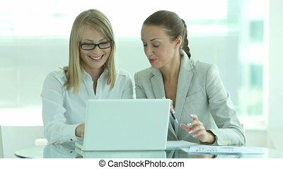 Enthusiastic business ladies - Enthusiastic business team of...
