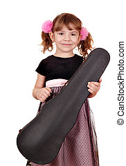 little girl holding violin case