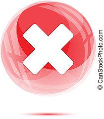 White cross mark in red glass sphere on white