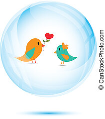 Cute couple bird with red heart flower in the blue glass