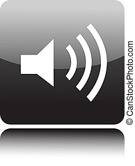 Speaker icon on black glossy button