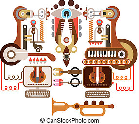 Musical laboratory - abstract vector illustration. Isolated...
