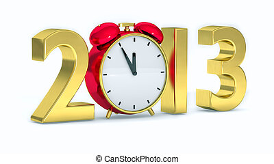 2013 concept - New year 2013 concept with red clock