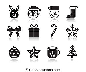 Christmas black icons with shadow s