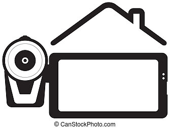 videocamera and house silhouette wi - symbol home video -...