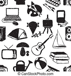 seamless doodle hobby pattern - seamless doodle bobby...