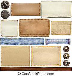 Jeans labels - Blank leather jeans labels, buttons, straps...