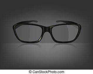 Vector glasses on black background. Eps 10