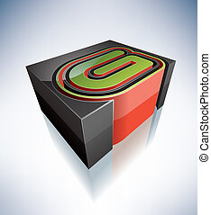 3D letters: G - Three-dimensional alphabet: capital letter G...