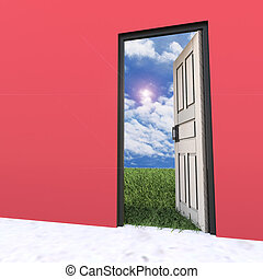 Open white door leading to beautiful clean nature with green grass and blue sky