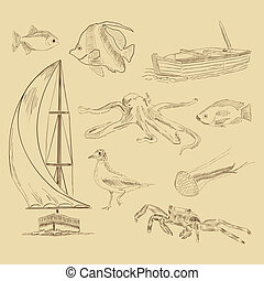 Sea elements - Vector hand drawn sea elements
