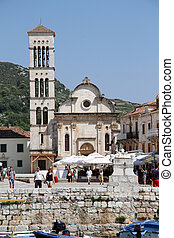 Church in Hvar - Square with church in the center of Hver,...