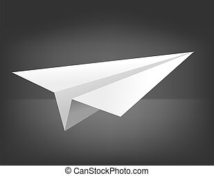 Vector origami airplane on black background. Eps 10