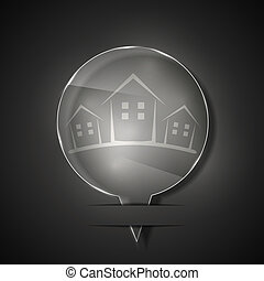 Vector glass real estate icon on gray background. Eps 10