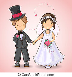 Wedding card with groom and bride - Cartoon illustration of...