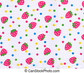Strawberry pattern on white fabric