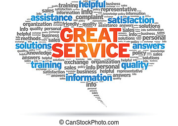 Great Service word speech bubble on white background