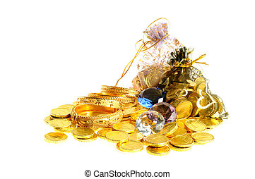Lot of gold coins - Stock of old coins, diamonds and...