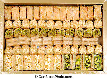 Lebanese sweets in a  box  , close up shot