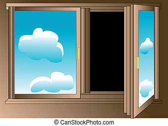 pessimist's window - Pessimist's window with blue sky on the...