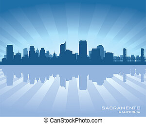 Sacramento, California skyline illustration with reflection...