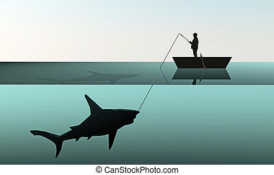 fisherman hunting a big shark in old grunge photo