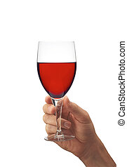 Man's hand with glass of red wine isolated on white...