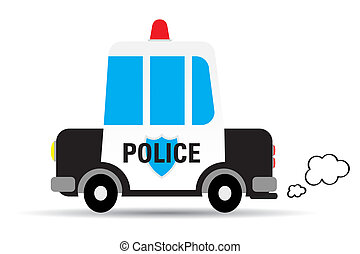 Police car vector illustration isolated on white background
