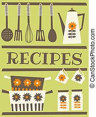 Recipe Card - Recipe card design in retro style.
