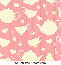 Teatime Background - Seamless pattern with tea pots and tea...