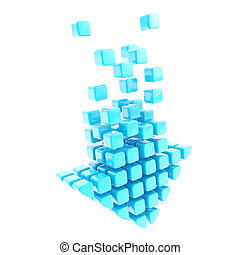 Upload technology arrow icon emblem made of blue cubes