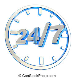 247 twenty four hour seven days a week emblem icon - 247...