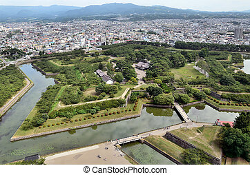 Landscape visible from the tower Goryokaku. (hakodate,...