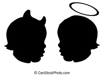 Silhouette of two babies heads, one being an angel the other...
