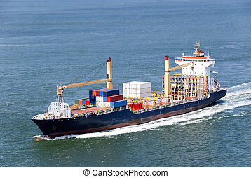 Cargo ship with containers moving - Container Ship...