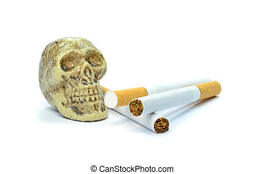 Smoking kills concept with a skull and cigarettes on white...