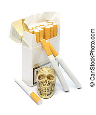 Smoking kills concept with skull sitting next to a box of...