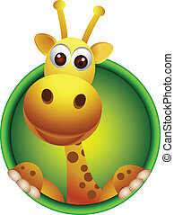 cute giraffe head cartoon - vector illustration of cute...