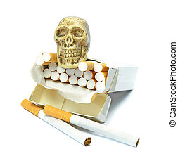 Smoking kills concept with skull sitting on an open box of...
