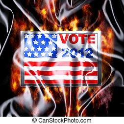 Vote 2012 - Illustration Vote USA 2012 in silk cloth