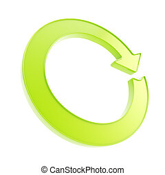 Recycle glossy emblem icon as circle round arrow - Recycle...