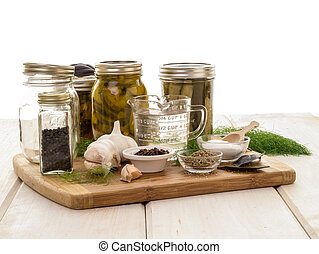 Pickling Supplies - Jars, spices, cucumbers, garlic all the...