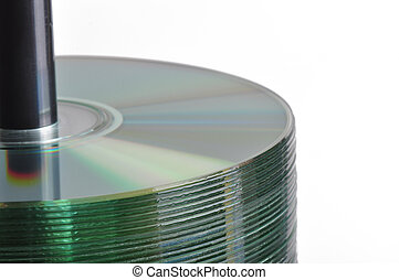 CD Spindle Stack - Stack of blank CD-r discs on a spindle...
