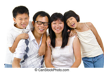 Asian family isolated on white background