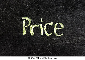 PRICE handwritten with white chalk on a blackboard