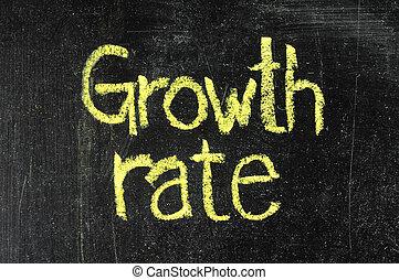 Crecimiento, tasa, manuscrito, blanco, Tiza, pizarra