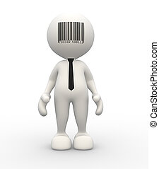 Barcode - 3d people - man, person and barcode on forehead....