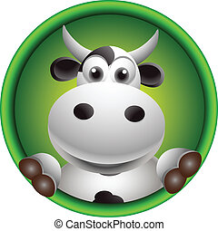 cute cow head cartoon - vector illustration of cute cow head...